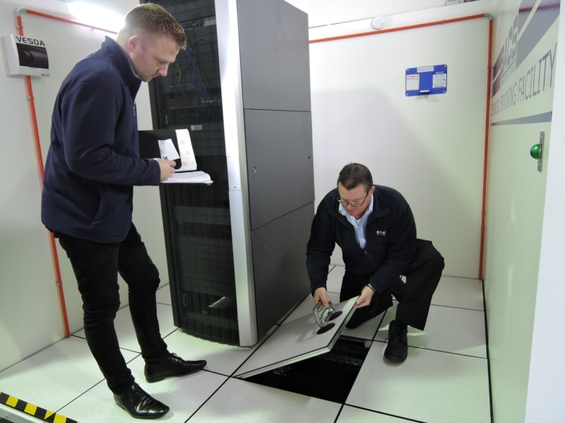 BAC live data centre - using floor tile lifter