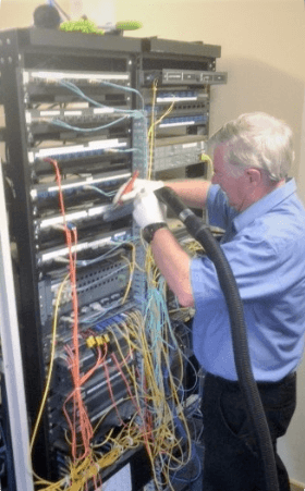 Server rack cleaning in comms room