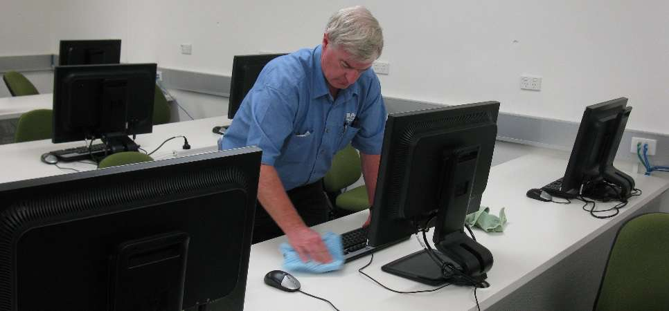 desktop pc cleaning in a computer lab