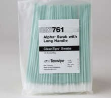 63085 - Texwipe TX761 Alpha® Swab with Long Handle<br /> Knitted polyester swab for cleaning surfaces and hard-to-reach areas, 100 swabs per bag