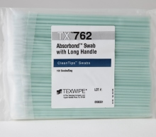 63090 - Texwipe TX762 Absorbond® Swab with Long Handle<br />Hydroentangled polyester swab for cleaning optical surfaces and hard-to-reach areas, 100 swabs per bag