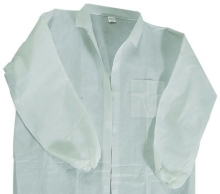 68013 - White Lab Coats<br />Laminated disposable lightweight with velcro fastener<br />1 coat per bag, 10 coats per pack